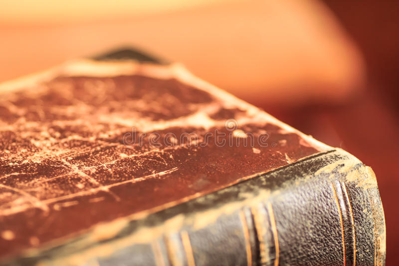 Old book cover. Old leather book cover close up royalty free stock photography