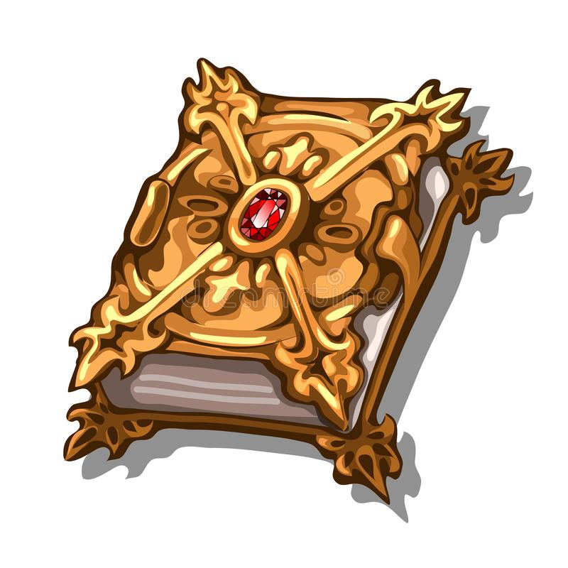 Old book in cover of precious metal and inlaid with ruby isolated on white background. Vector cartoon close-up. Illustration vector illustration