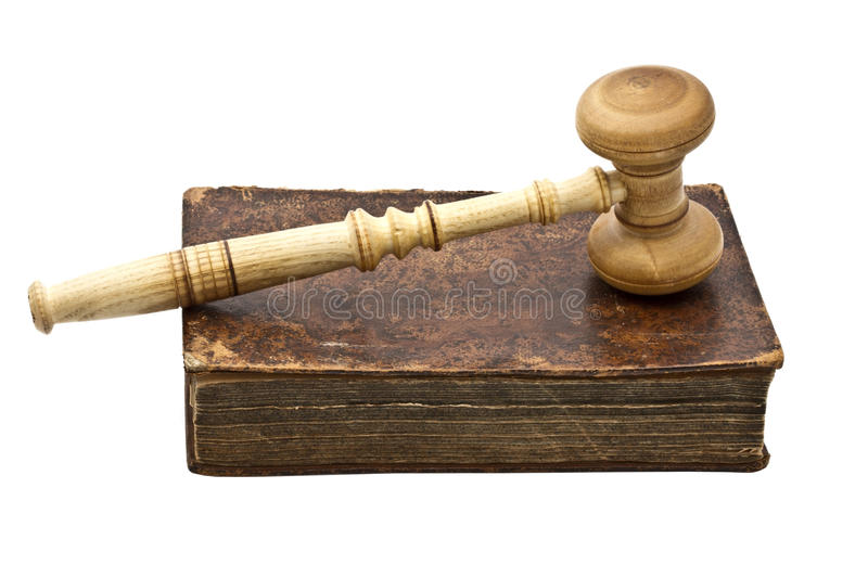 Old book and gavel royalty free stock photos