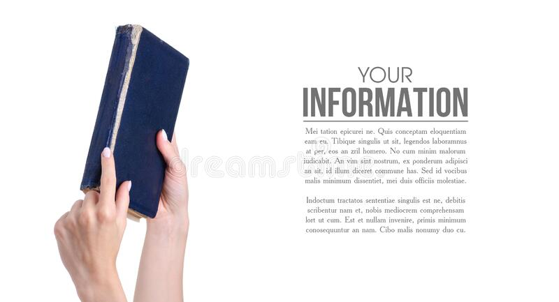 Old book in hand. On white background isolation royalty free stock photo