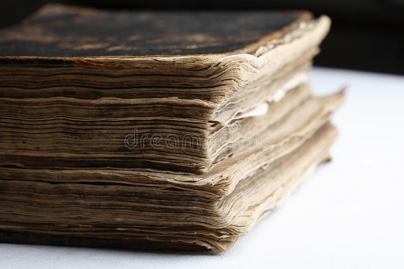 Old book with hard leather cover. royalty free stock image
