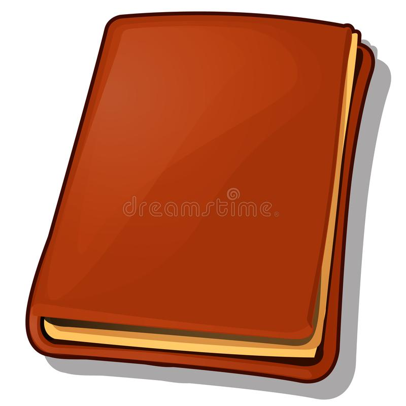 Old book with leather brown cover isolated on white background. Cartoon vector illustration close-up. Old book with leather brown cover isolated on white stock illustration