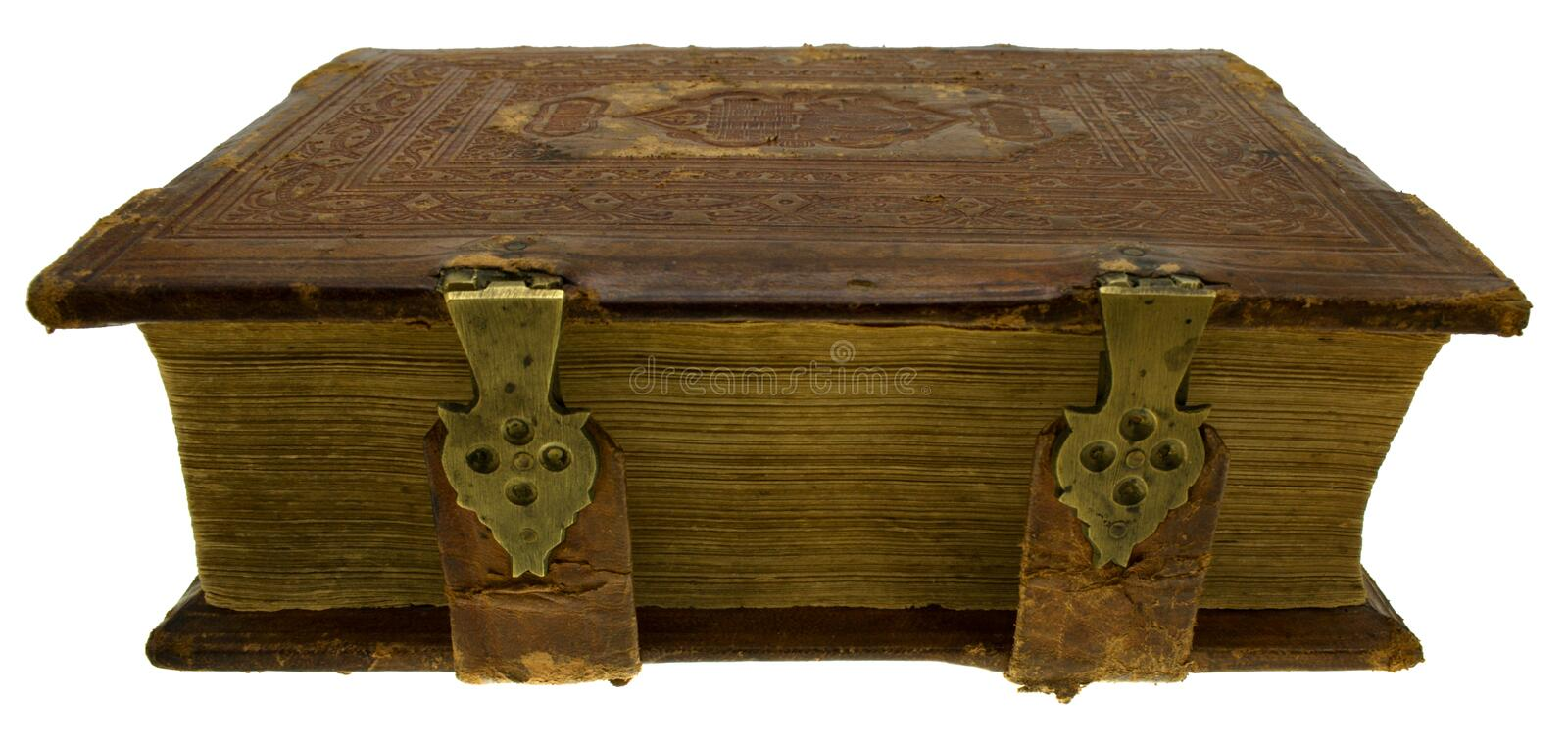 Old book with lock, isolated on white stock photo