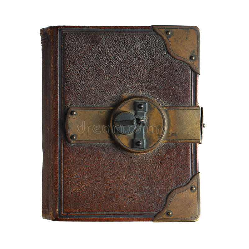 Old book with lock isolated on white. Background stock images