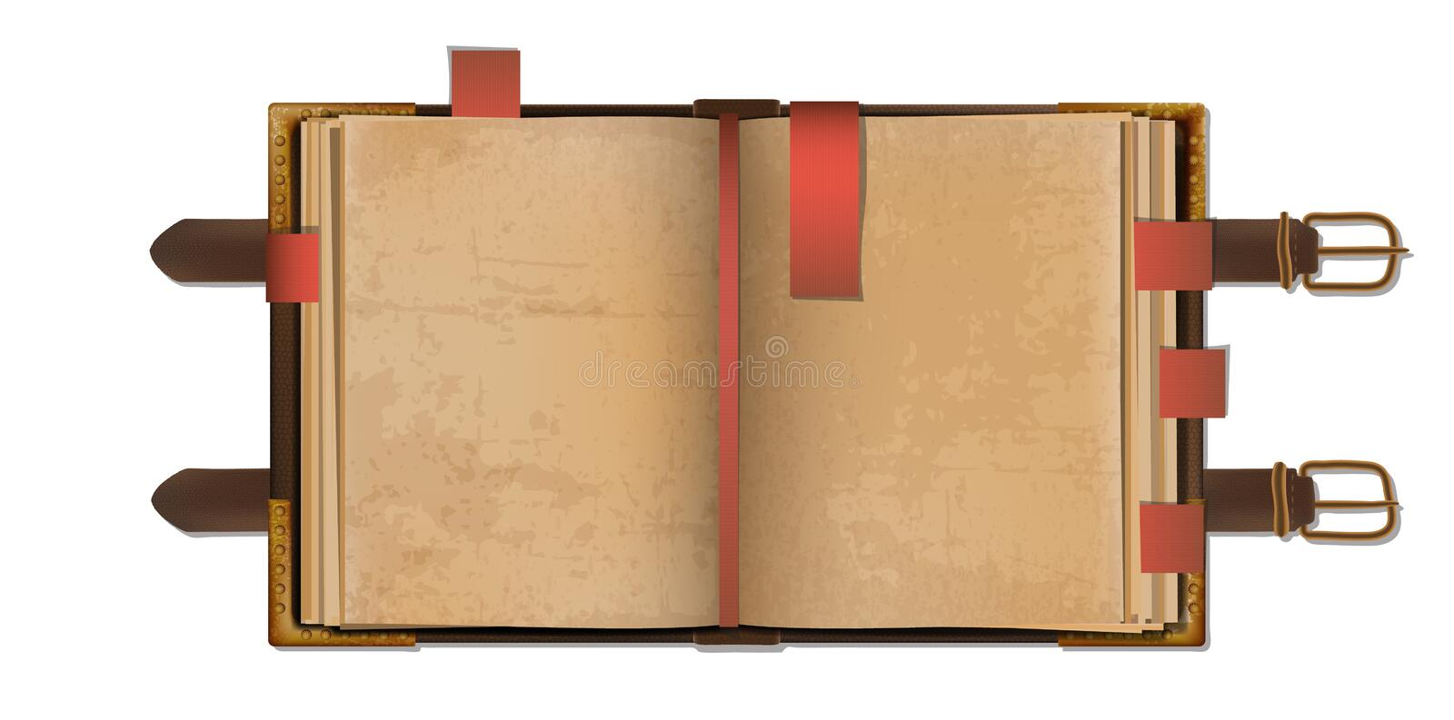 Old book. Old open blank book with bookmarks in a leather cover with metal clasps. EPS10 vector stock illustration