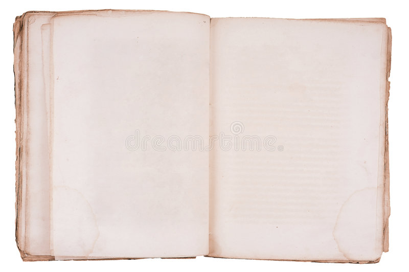 Old book open on both blank pages. Old book open on both blank shabby pages stock photo