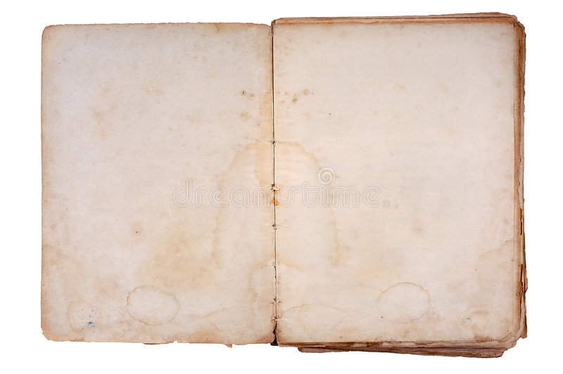 Old book open on both blank pages. stock photo