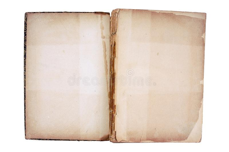 Old book open on both shabby pages. royalty free stock image