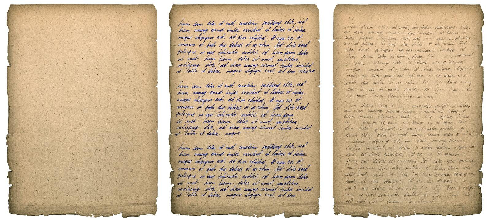Old book page with worn edges Handwriting Paper texture background. Old book page with worn edges isolated on white. Paper texture background. Handwritten letter royalty free stock images