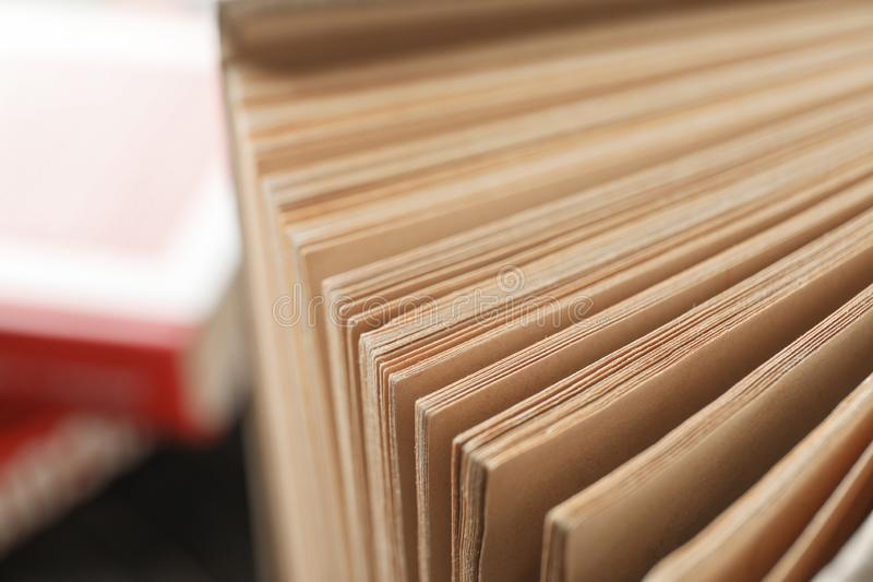 Old book pages, close up. Self-development royalty free stock photography