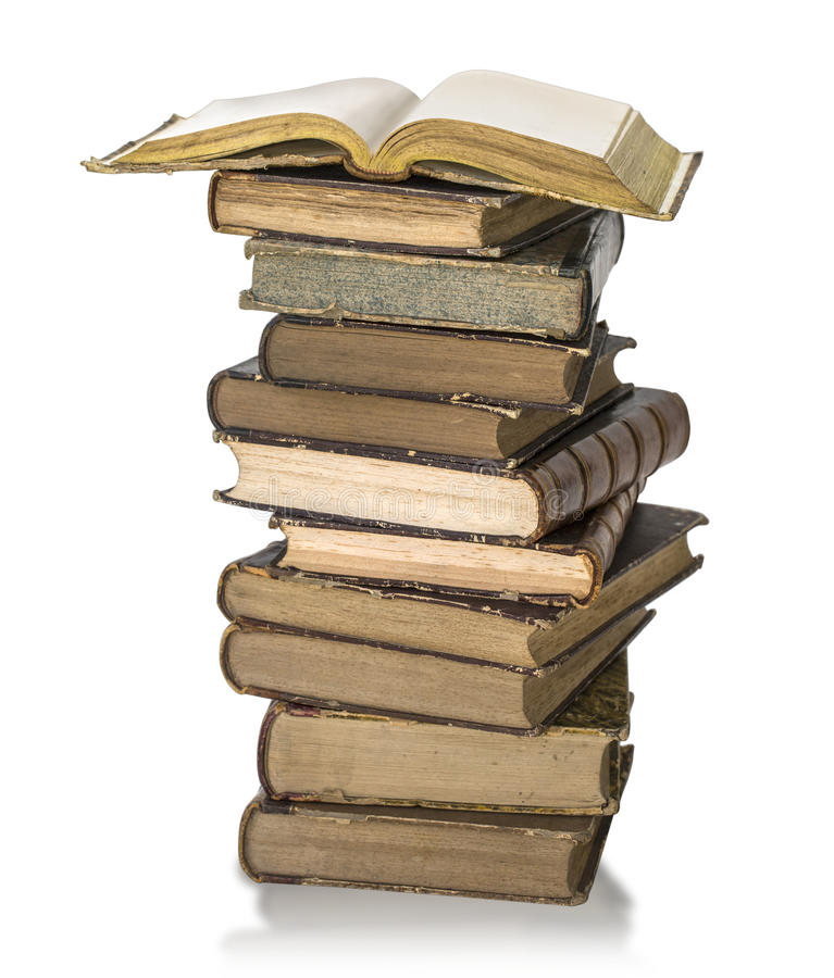 Old book pile stock photos