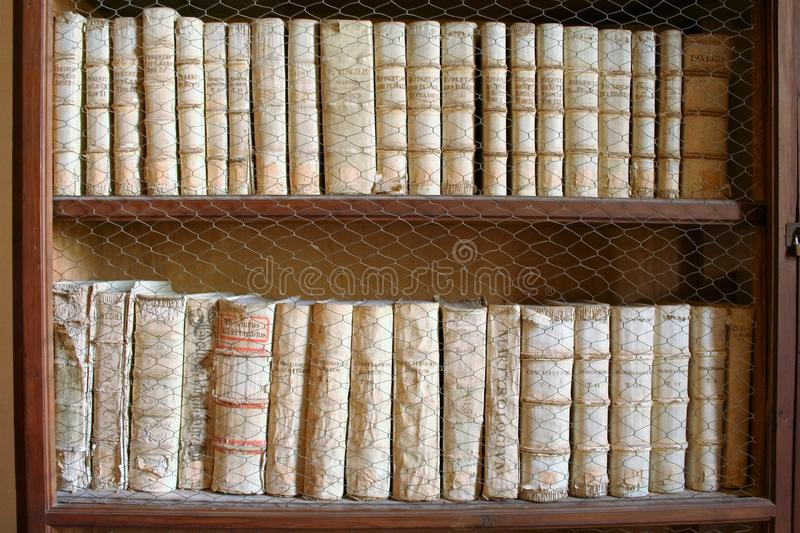 Old book in shelves stock image