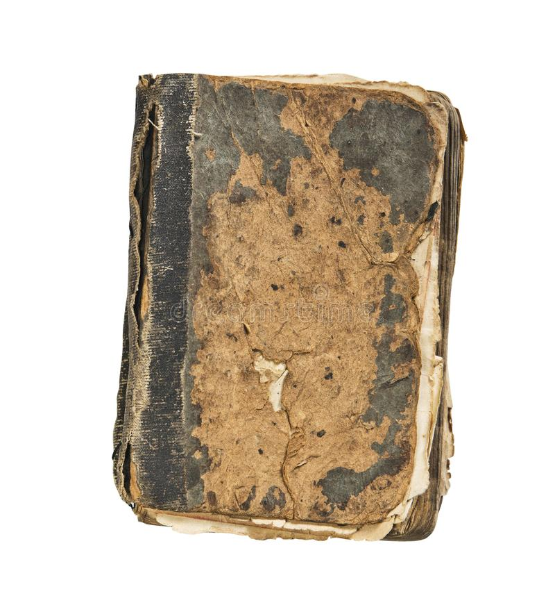 Old book vintage battered book cover isolated on white background.  stock image