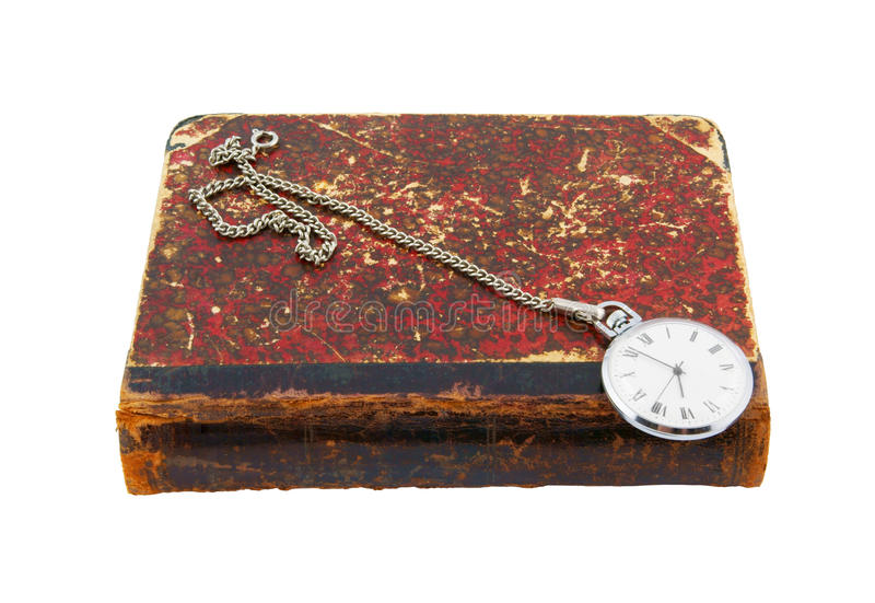 Old book and watch isolated. On white background royalty free stock photo