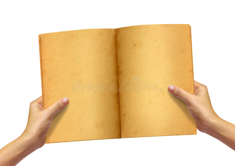 Old book in woman hand. On white background royalty free stock photography