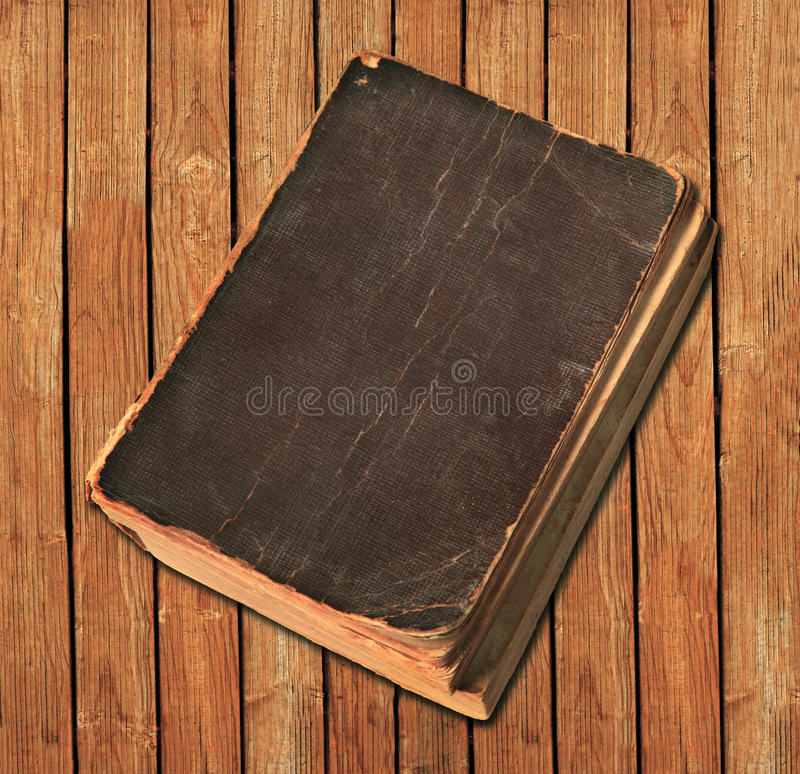 Old Book On Wood Background Stock Photos