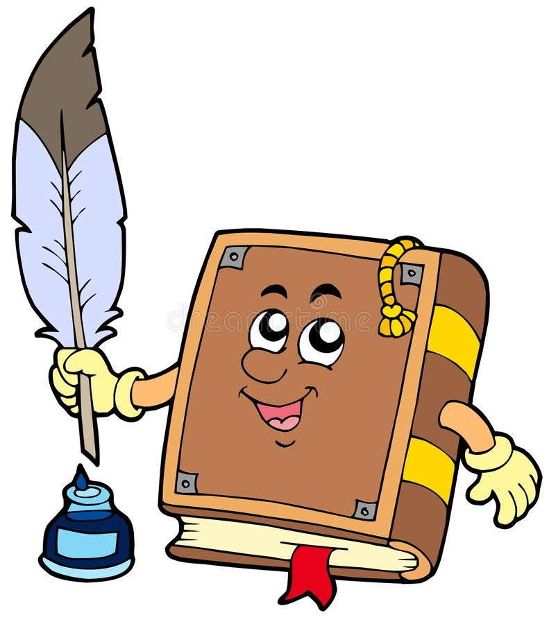 Old book writing with feather. Vector illustration royalty free illustration