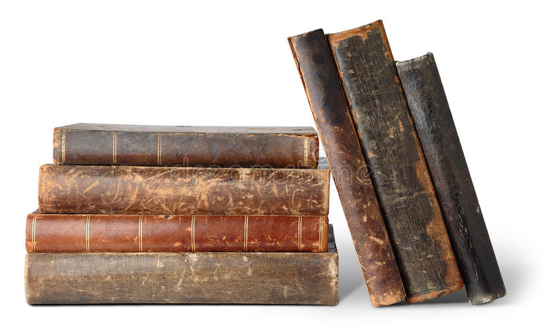 Old books. Isolated books. Stack of old books isolated on white background