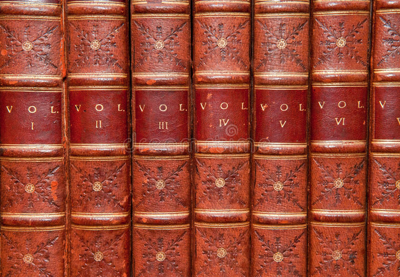 Old Books. Old reference books, bound in leather royalty free stock image