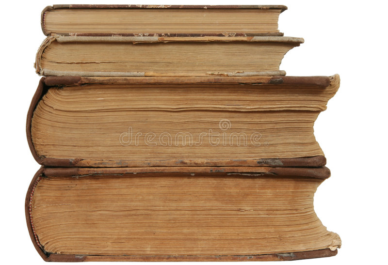 Old books. Four very old books with yellowed papers royalty free stock photography