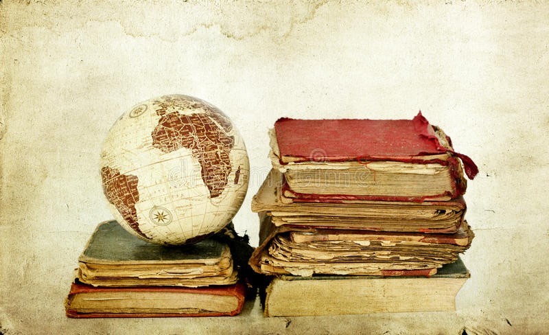 Download Old books and globe earth stock image. Image of educational - 33036215
