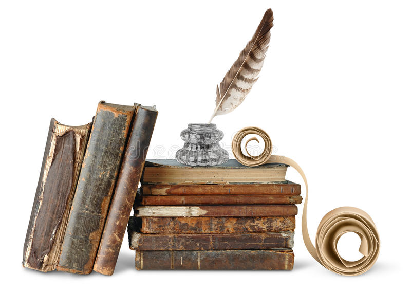 Old books, inkstand and scroll. Isolated books. Old weathered books, inkstand with quill and scroll isolated on white background stock photos