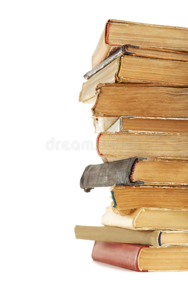 Old books. Isolated on a white background stock photo