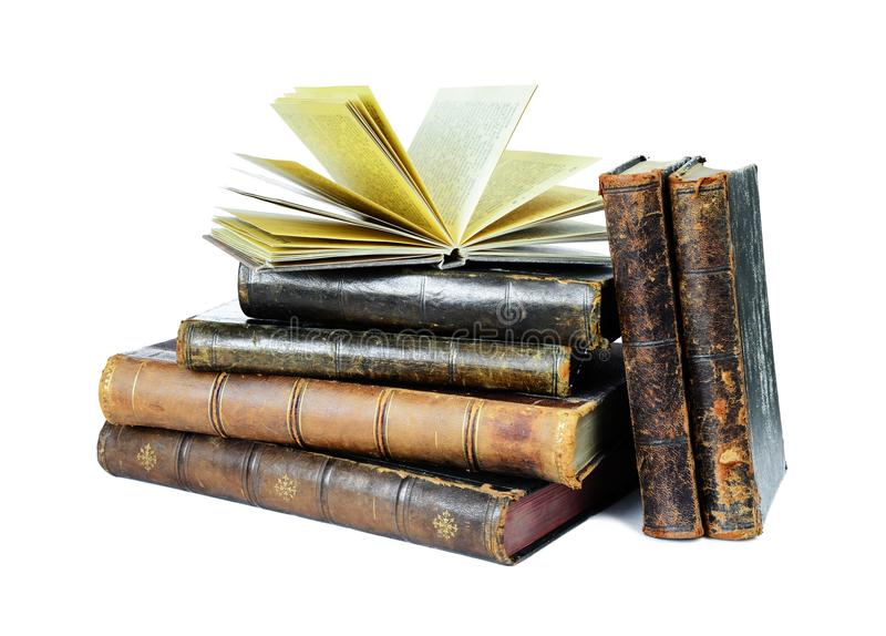 Old books isolated on a white stock photo
