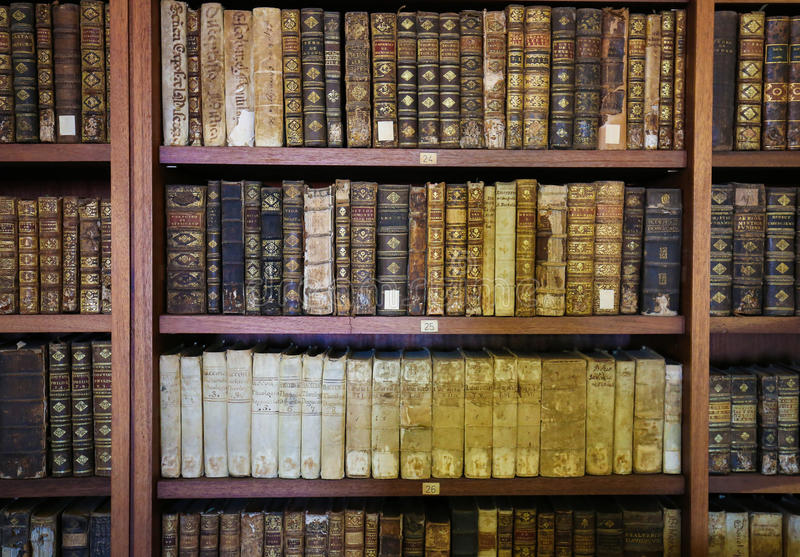 Old books in the library of Coimbra. Portugal royalty free stock photos