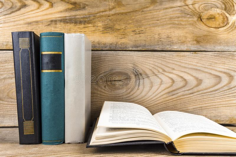 Books on old Bookshelf. Old books on an old, wooden bookshelf royalty free stock image