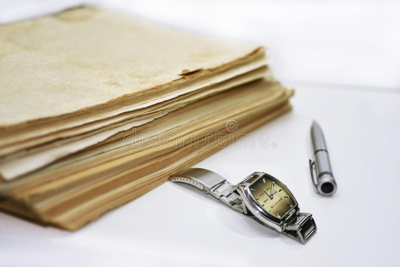 Download Old Books With Pen. Isolated Documents Stock Image - Image: 83716675