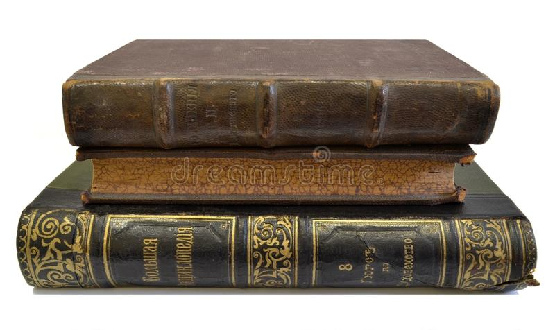 Old books. Of which was published in 1895, 1902 and 1909. Photo taken on: June 24 Friday, 2016 stock photo