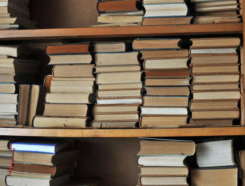 Old Bookshelf. Many books on the old bookshelf,recorded the past history royalty free stock photos