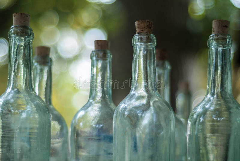 Old bottles on an antique market royalty free stock photography