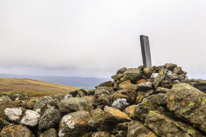 Old Boundary Stone. An old Boundary Stone on carnedd Y Filiast rests on a Cairn, Snowdonia National Park stock images