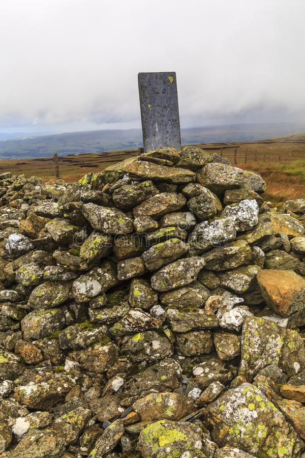 Old Boundary Stone. An old Boundary Stone on carnedd Y Filiast rests on a Cairn, Snowdonia National Park royalty free stock photo
