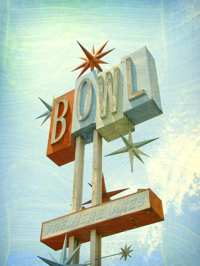 Old bowling alley sign royalty free stock photos