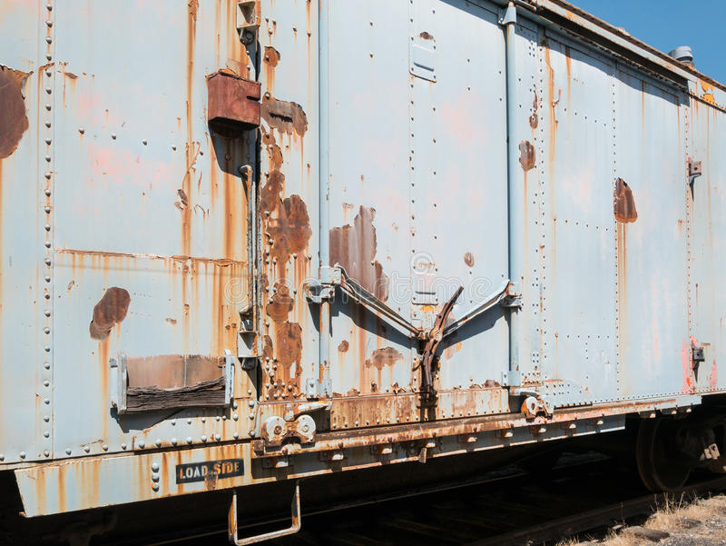 Old box car. Vintage boxcar, Western Pacific Railroad Museum, Portola, California royalty free stock photos