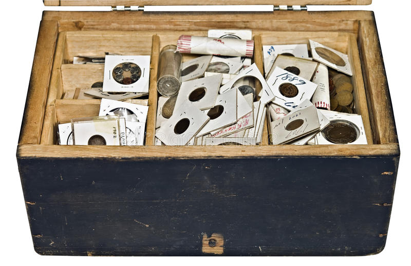 Old Box and Coins stock images