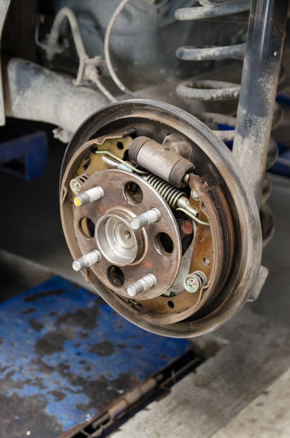 Old brake pads stock image