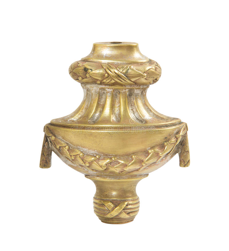 Old brass candle holder on white background. Ancient brass candle holder on white background stock photo