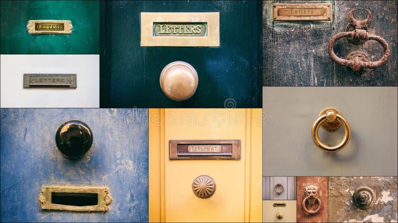 Old brass door mail letter boxes, door knockers and door knobs collage stock photography