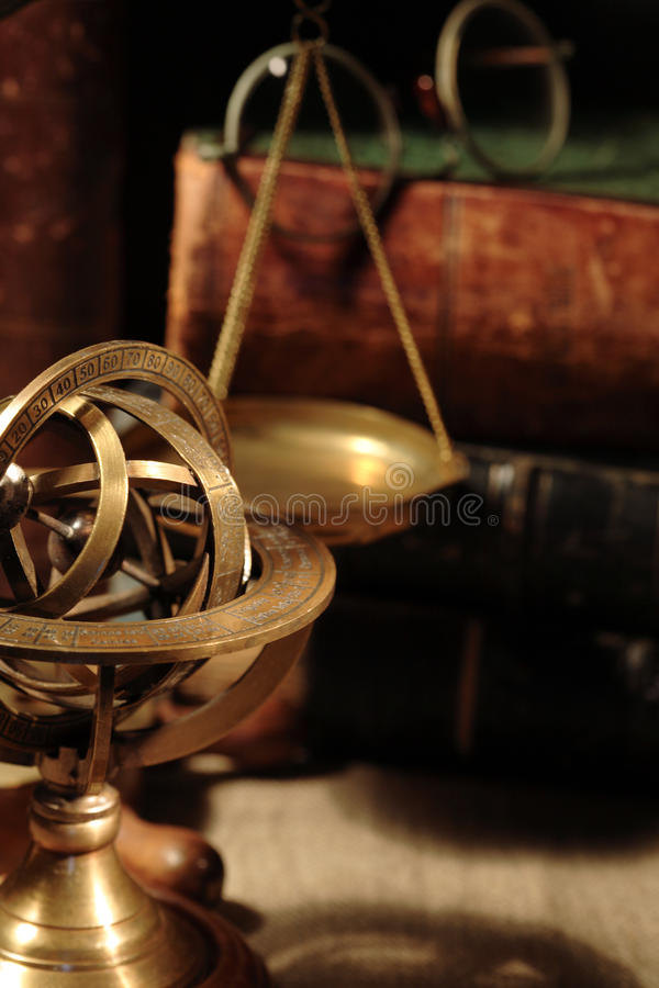 Old Brass Globe stock image