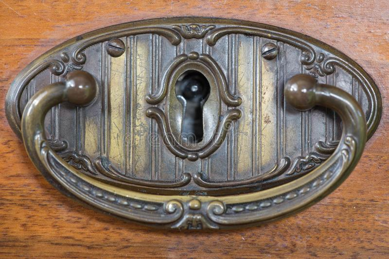 Old brass handle drawer. / vintage royalty free stock photo