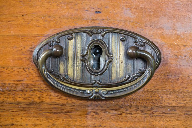 Old brass handle drawer. / vintage stock photos