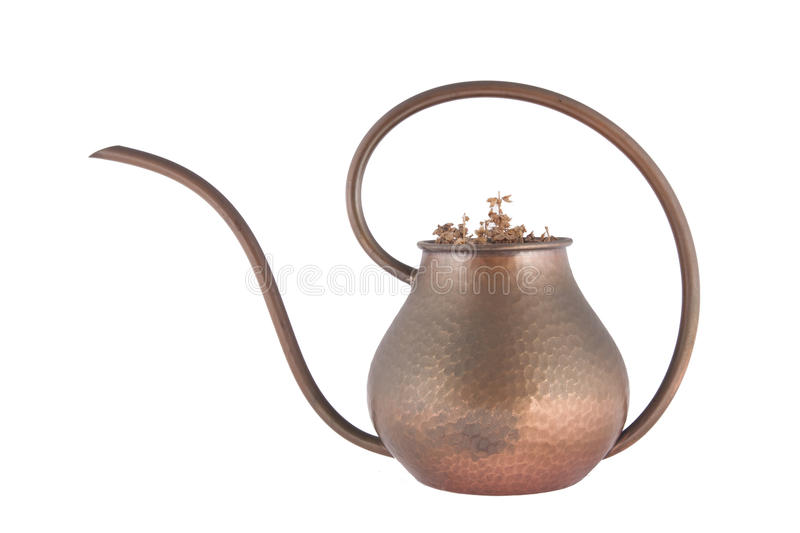 Old brass kettle stock photo