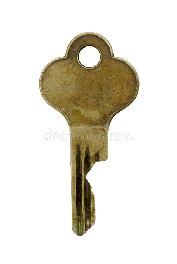 Old Brass Key Isolated on White Background vector illustration