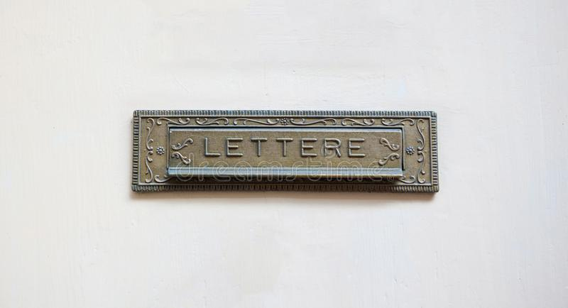 Old mail letter box on a white front door, text lettere stock photography