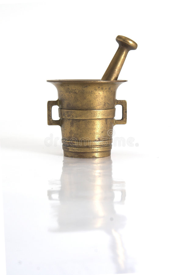Old brass mortar stock photo
