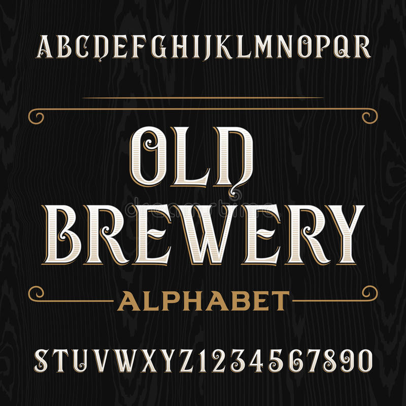 Old brewery alphabet vector font. Type letters and numbers. Old brewery alphabet vector font. Type letters and numbers on the dark wooden background. Vintage